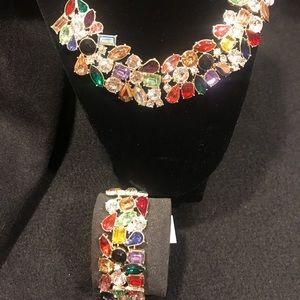 Statement necklace and matching bracelet set